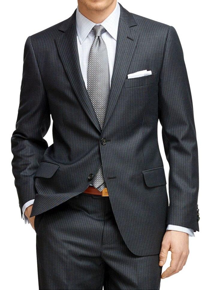 Мужской костюм на заказ в тонкую полоску темно серый мужской костюм в полоску, однобортный мужской костюм в полоску