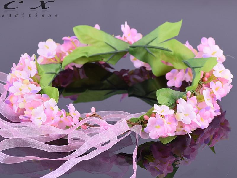 CXADDITIONS Adjustable Silk Ribbon Hair Wreath Gradient Babysbreath Flower Crown Woodland Hairpiece Wedding Rustic Accessories