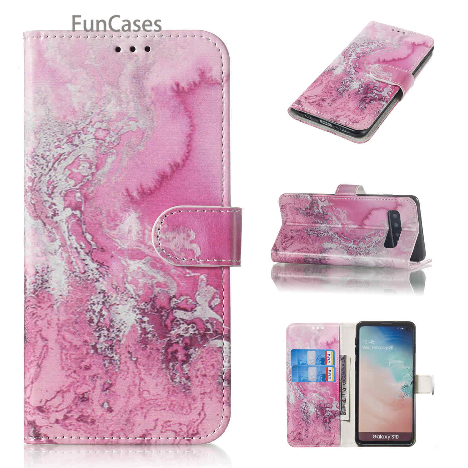 White Flip Wallet Case Book For etui Samsung S10 Plus Marble Cases sFor Samsung Galaxy S10E S10 5G Lite S9 Plus M10 M20 M30 M40