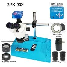 3,5-90X/7X-45X Тринокулярный стереомикроскоп + 1080 P 21MP HDMI USB цифровой видео микроскоп камера + 144 Светодиодный Фонари + накладка