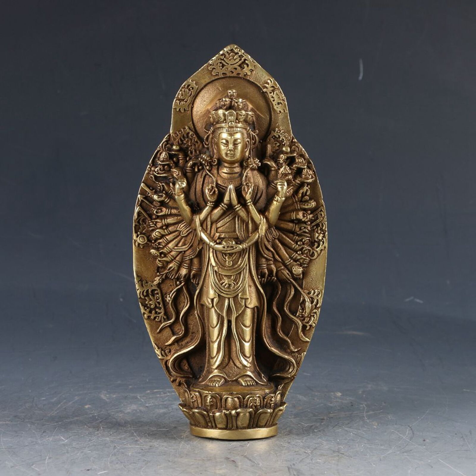 Collection Chinese Brass Carved Tibetan Guan Yin Thousand Hand Kwan yin Bodhisattva Buddha Statue Exquisite Small Statues|Statues & Sculptures| |  - title=