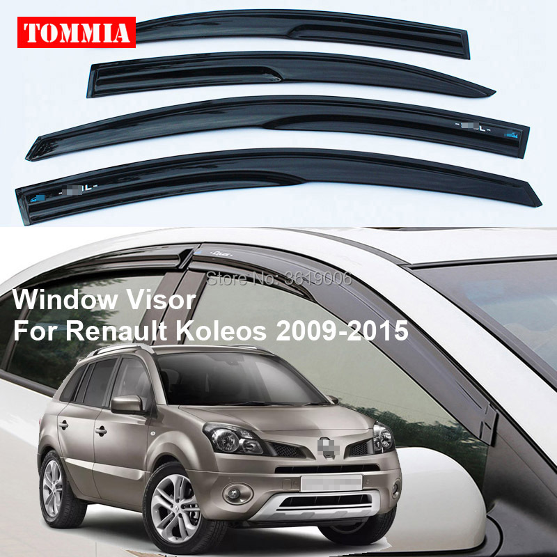tommia 4pcs Window Visor Shade Vent Wind Rain Deflector Guards Cover For Renault Koleos 2009-2015 2015 2017 car wind deflector awnings shelters for hilux vigo revo black window deflector guard rain shield fit for hilux revo