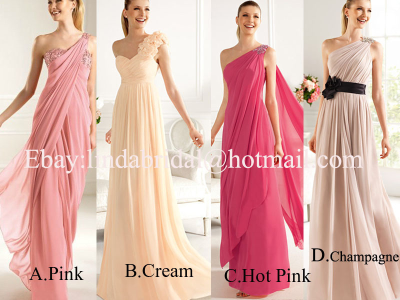 Discount 4 Styles Pink Cream Red Champagne Chiffon Bridal Wedding ...