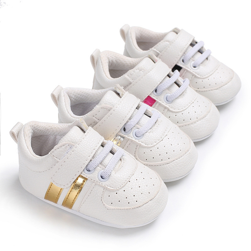 Classic White Newborn Booties Baby Shoes Soft PU Leather Baby Sports Shoes First Walkers Anti-slip Toddler Sneakers