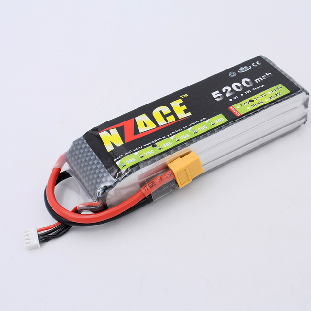 NZACE Power 11.1V 5200MAH 30C MAX 35C AKKU LiPo RC Battery For Rc Helicopter Car Boat 3S free shipping