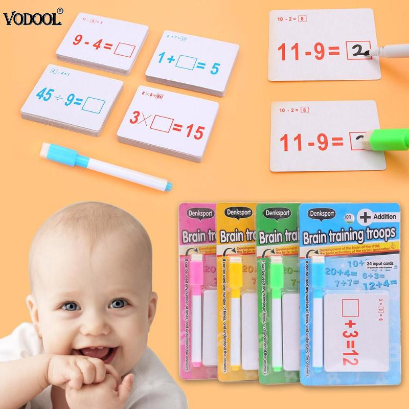 2020 Mathematics Teach Card With Erasable Pen Math Educational Toys For Children Preschool Tool Kindergarten Games