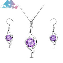 Miss Lady Refinement geometry Rhinestone Austrian Crystal Cheap Costume Jewellery Sets Crystal Pendant and Earring MLZ1079