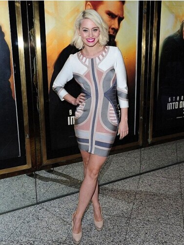 Free Shipping 2016 Winter Dresses New Fashion Sexy Mesh Nude&Gray&White Tribal Mid SLeeve Formal Evening Gowns Bandage Dresses