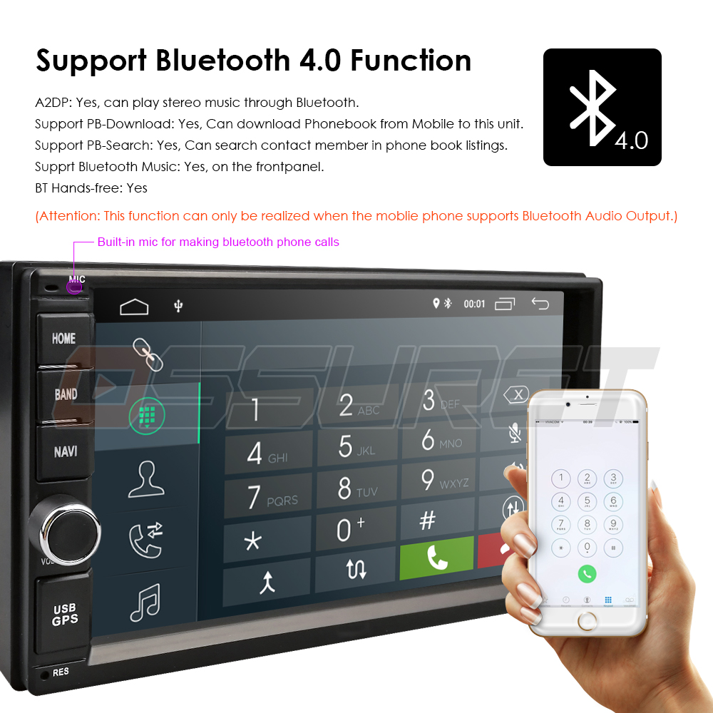 Image 4 - 2G RAM Android 9.0 Auto Radio Quad Core 7Inch 2DIN Universal Car NO DVD player GPS Stereo Audio Head unit Support DAB DVR OBD BT-in Car Multimedia Player from Automobiles & Motorcycles