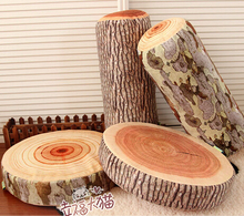Novelty plush tree stump wood Cylindrical soft seat cushion Wood Pillow Soft Cushion kids toys