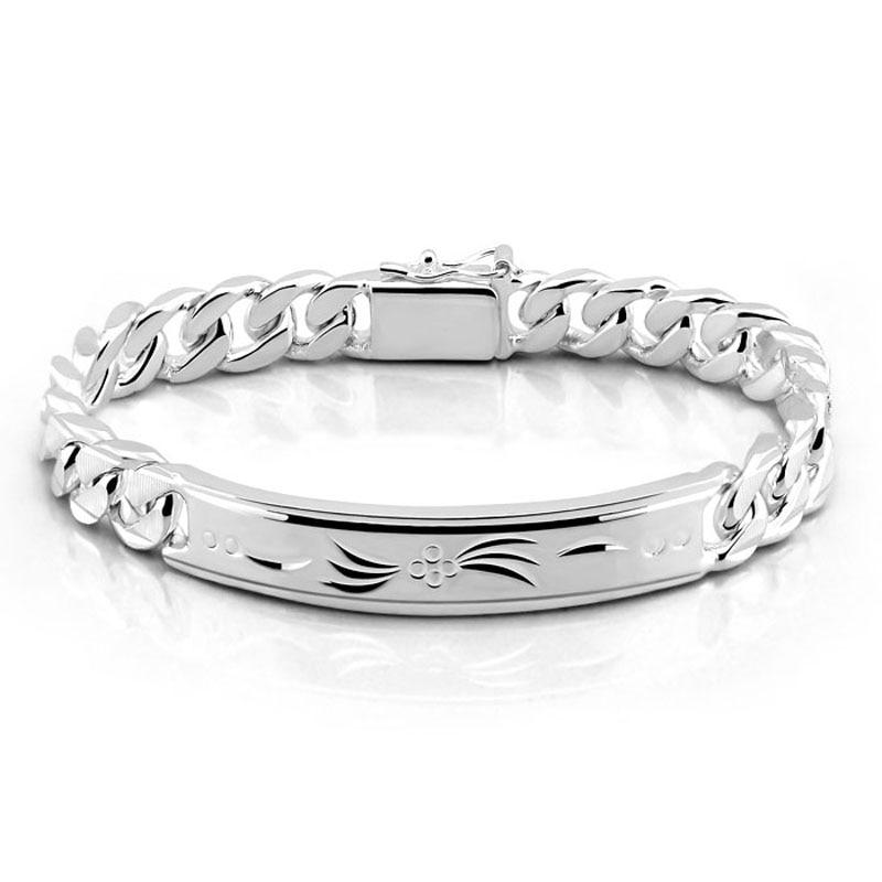 Fashion 925 sterling silver bracelet for men Male cool rock punk style bracelet 100% Solid silver 10 mm 20 cm bracelet jewelry punk style solid color hollow out bracelet for women