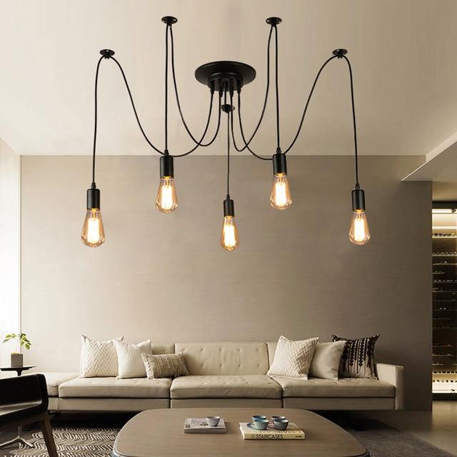 Vintage Loft Nordic Spider Pendant Lamps Adjustable Swag Lights ...