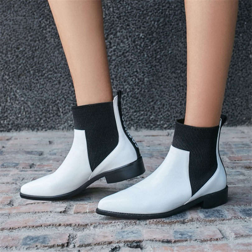 NAYIDUYUN 2018 Shoes Womens Genuine Leather High Top Ankle Boots Pointed Toe Low Heels Party Pumps Punk Oxfords Casual Shoes
