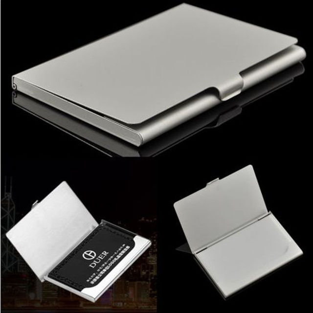 1 pc waterproof business card storage box aluminum metal business id 1 pc waterproof business card storage box aluminum metal business id credit card holder case organizer reheart Image collections
