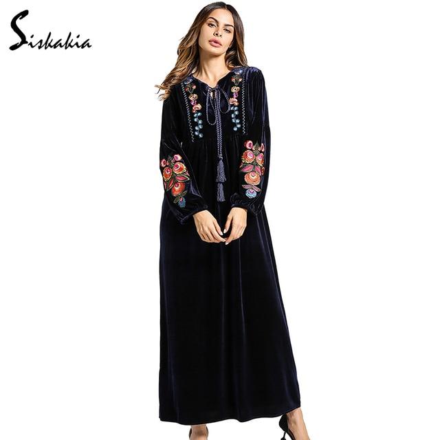 Siskakia long sleeve Velvet Maxi long Dress women Autumn Winter Flower  Embroidery warm tunics lace up collar muslim Navy dress d2aba9ff2b