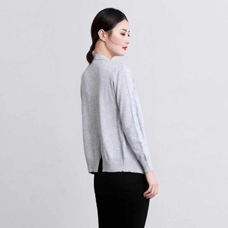 Phong Cách mới Mùa Xuân, Mùa Thu Áo Cardigan nữ Cashmere pha trộn Len dệt kim màu nguyên chất Lỏng Lẻo Áo khoác ngắn thời trang đan Len Cardigan