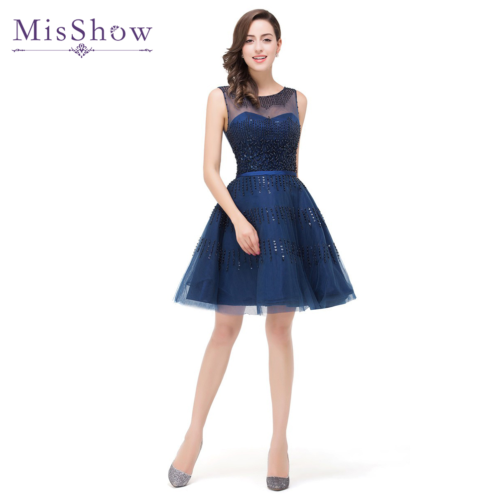 A Line Navy Blue Sheer Scoop Neckline Beaded Short   Prom     Dresses   2018 New Arrival Lace-up Back Tulle Formal Party   Dress
