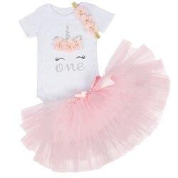 Algodão roupas da menina do bebê 12 meses unicórnio bebê tutu vestido mouse 1 ano menina do bebê vestido de aniversário 2 anos vestido de festa
