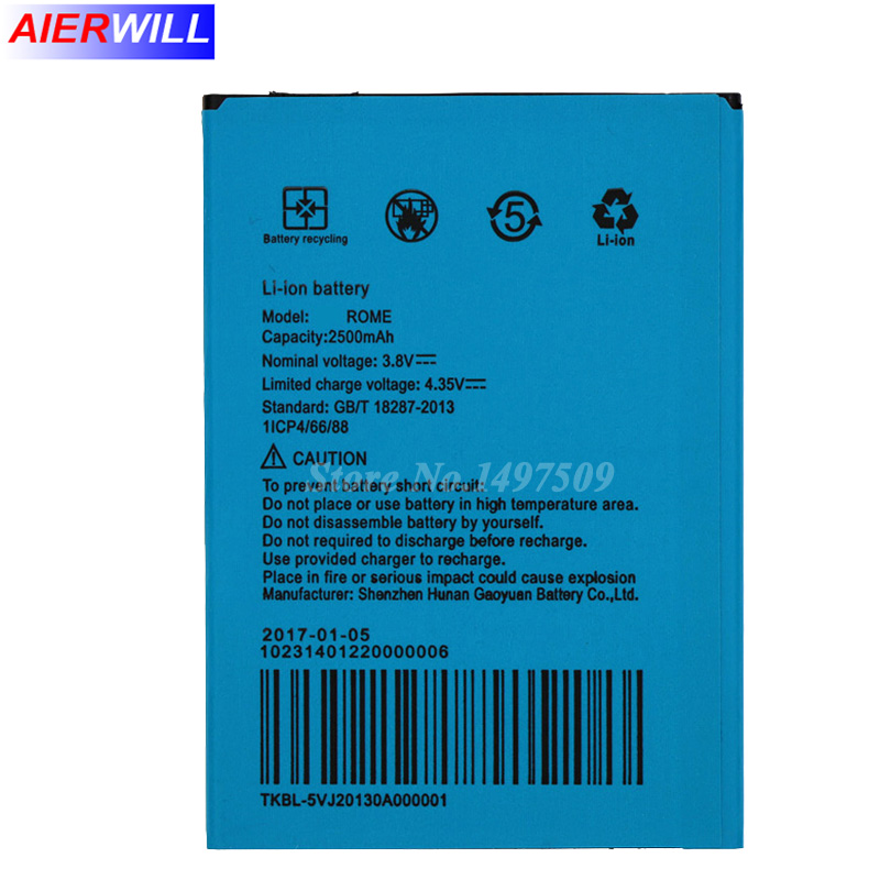 2500mAh For UMI Rome Battery for UMI Rome X Batterie Bateria Accumulator AKKU