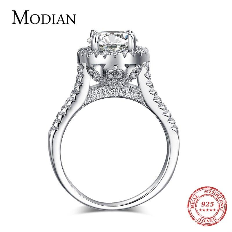 Caliente Venta de moda de lujo de las mujeres de la joyería de plata de ley 925 5A ZC de circón de cristal de boda dedo anillos de flores