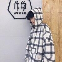 2018 New Men S Korean Style Coats Fashion Trend Lattice Pullovers Loose Hip Hop Hooded Hoodies