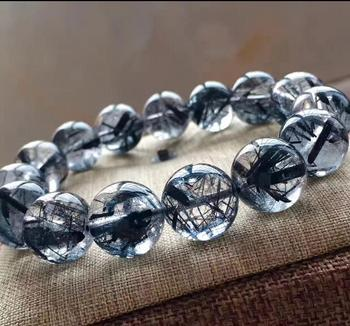 fine jewelry  Natural Bracelet Crystal Black Hair Rutilated Quartz Beads AAA 10-14mm free shipping