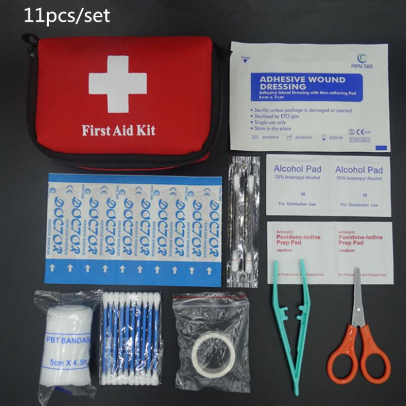 11pcs/set Emergency survival bag Mini Family First Aid Kit Sport Travel kits Home Medical Bag Outdoor Car First Aid Bag free shipping waterproof mini outdoor travel car first aid kit home small medical box emergency survival kit household