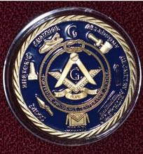 цена на 2015 New Arrival 50pcs /lot 1 oz 24 k gold plated Masonic Freemasonry coins Free shipping 40*3mm