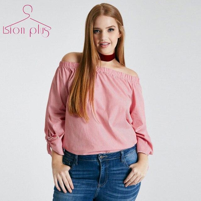 01a2d31a € 26.36  Hombro rosa mujer blusas camisa 2017 Primavera Raya Vertical  Cuello Estilo Lindo de las mujeres camisa de Manga larga Delgado Rayas  Blusa ...