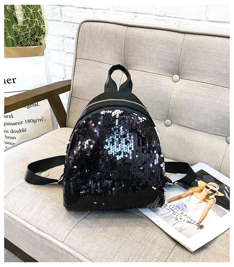 Backpacks women Korean mini 2018 new sequined shell fashion trend women go with small backpacks travel backpack 93
