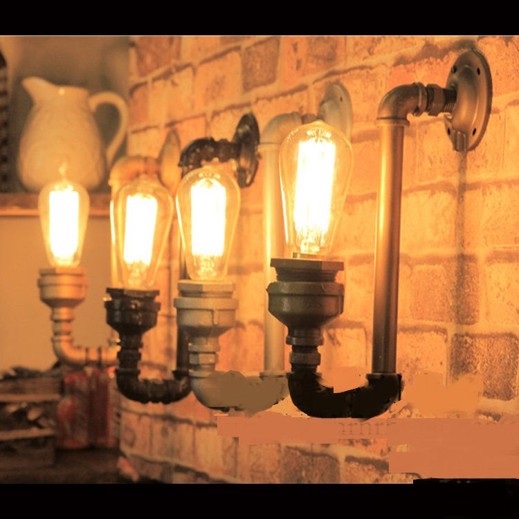 Water pipes 1Pc light source set produced pipe LED wall light retro coffee bar decoration creative personality wall lamp SG26 water pipes light source set produced 75 industrial water wall lamp retro cafe loft american iron wall zzp