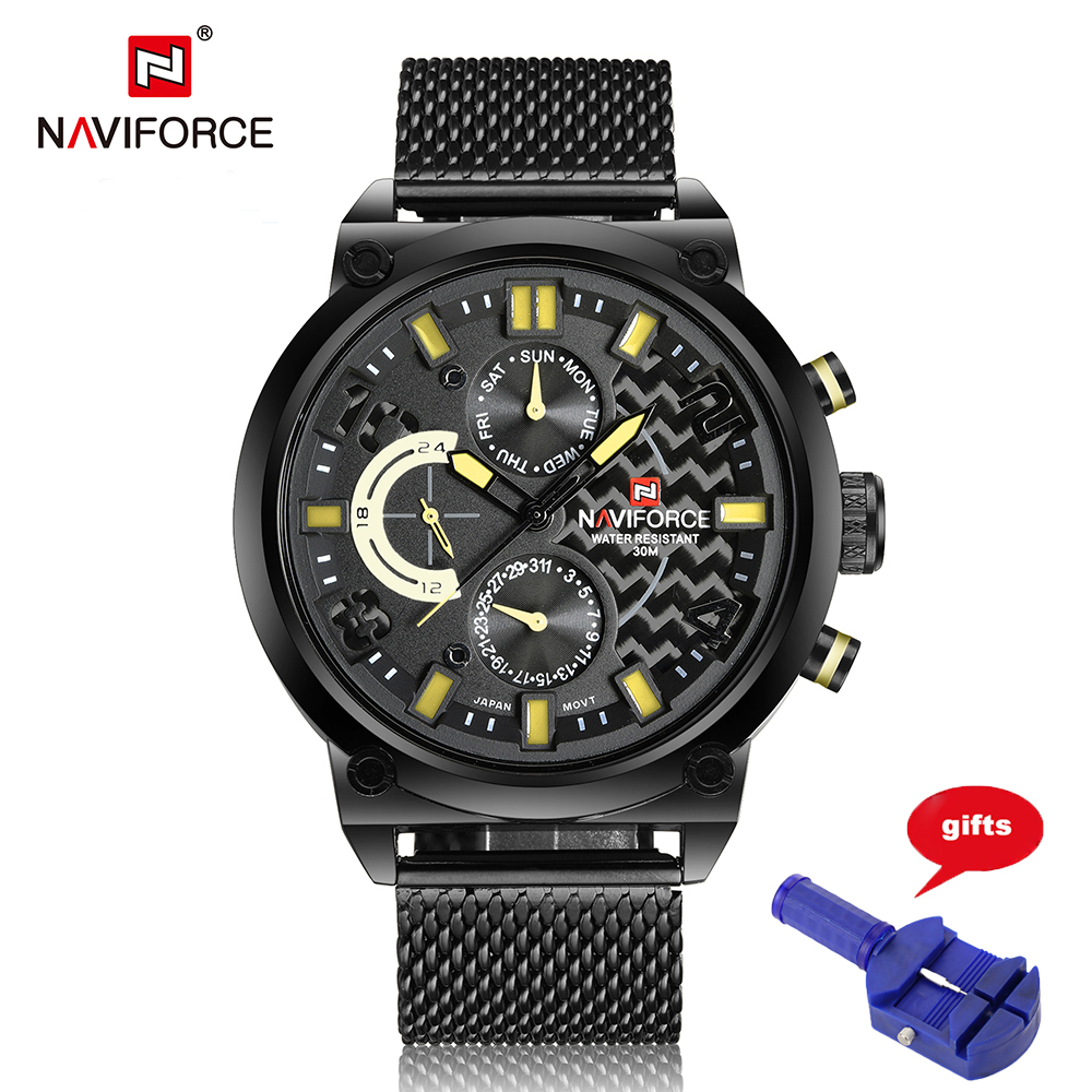 Watches Men NAVIFORCE Luxury Brand Fashion Casual Quartz Wrist watches Leather Waterproof Sports Watch Man Clock Reloj Hombre migeer fashion man stainless steel analog quartz wrist watch men sports watches reloj de hombre 2017 20 gift