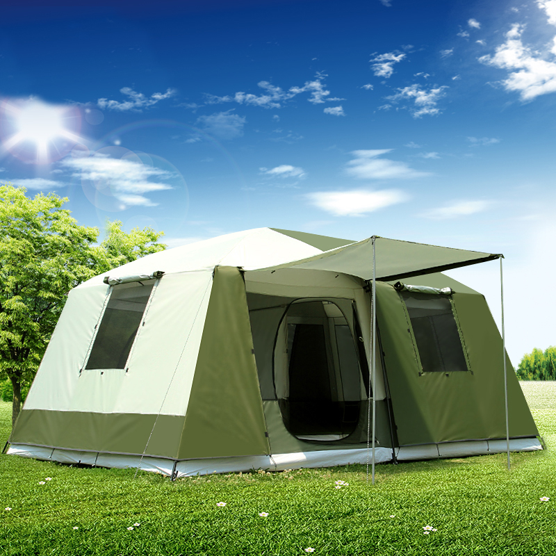 High quality 10Persons double layer 2rooms 1hall large outdoor family party tents big space waterproof camping tent otomatik çadır