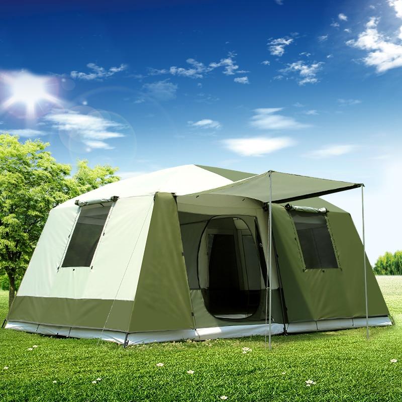 Высокое качество 10 человек двойной слой 2 комнаты 1 зал большой открытый семейные вечерние палатки большое пространство водонепроницаемый палатка