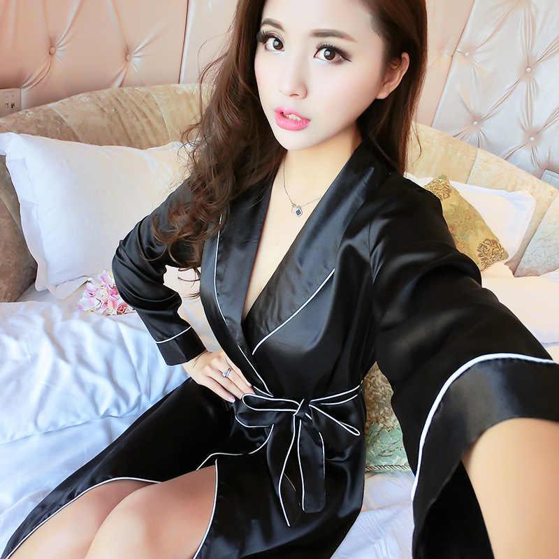 Robe Kadın Bornoz Seksi Saten Elbise Bahar Kimono Ipek bornoz Pijama Kadın Soyunma Elbise Gecelik Pijama ve bornoz