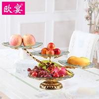 Европейский ужин Аутентичные три слоя Виноградная лоза стекло корзина с фруктами десерт блюдо дома моды декоративная тарелка