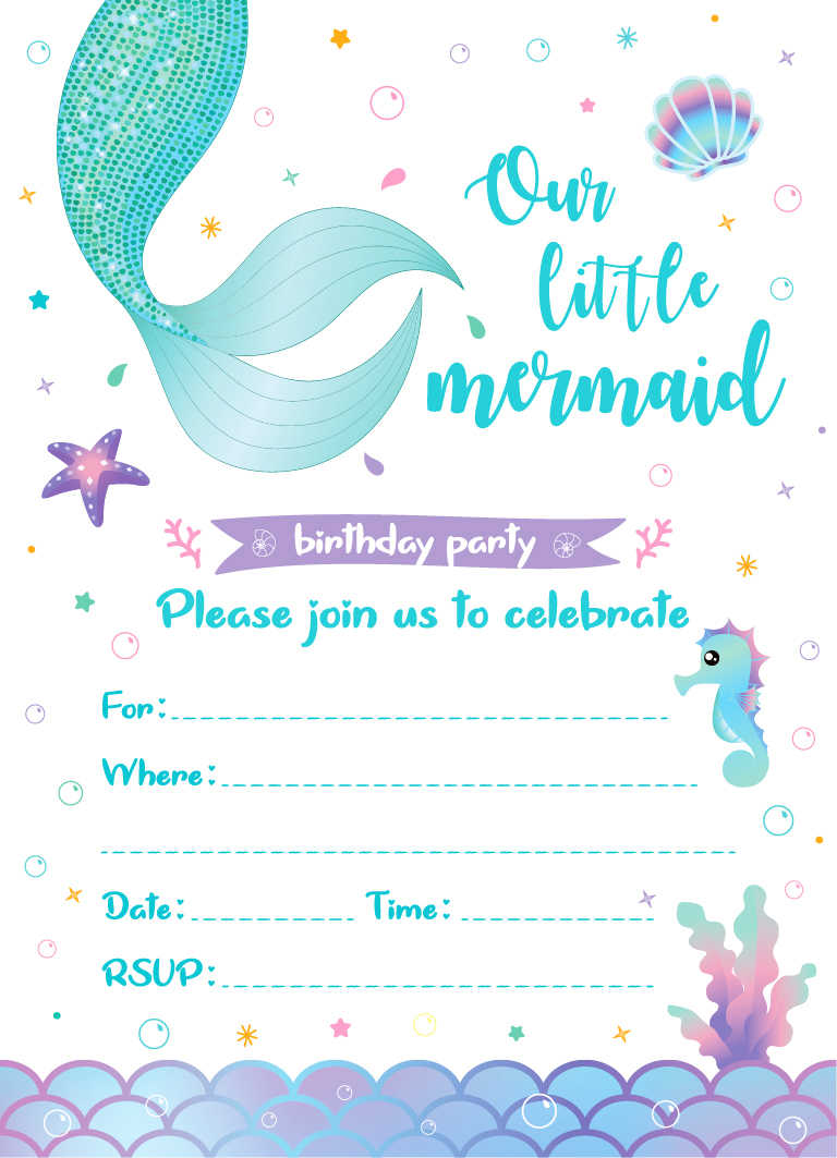 little mermaid birthday party invitation cards your re invited weeding invitations lets be mermaid kids party favors decorations