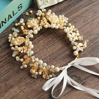 Bruiloft parel bloem satijn haarband bridal Tiara Kroon Hoofdband Prinses Kristal Strass haaraccessoires 24 stks/partij