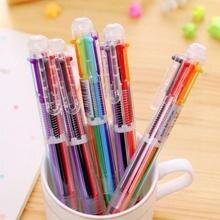 Креативная многоцветная шариковая ручка, милая масляная ручка, канцелярский пресс, шесть цветов, масляная ручка для студентов, детей, офиса, школы, поставка# N