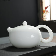Chinese Ceramics Dehua White Teapot Shih Kettle Ivory white handle pot Side pot Kung Fu tea set Single pot jade porcelain bowl(China)