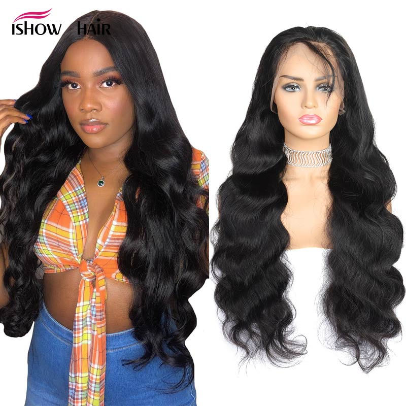 Ishow 4x4 Lace Closure Wig Brazilian Body Wave Lace Front Human Hair Wigs For Black Women 150% Density Lace Wig Remy Pre Plucked