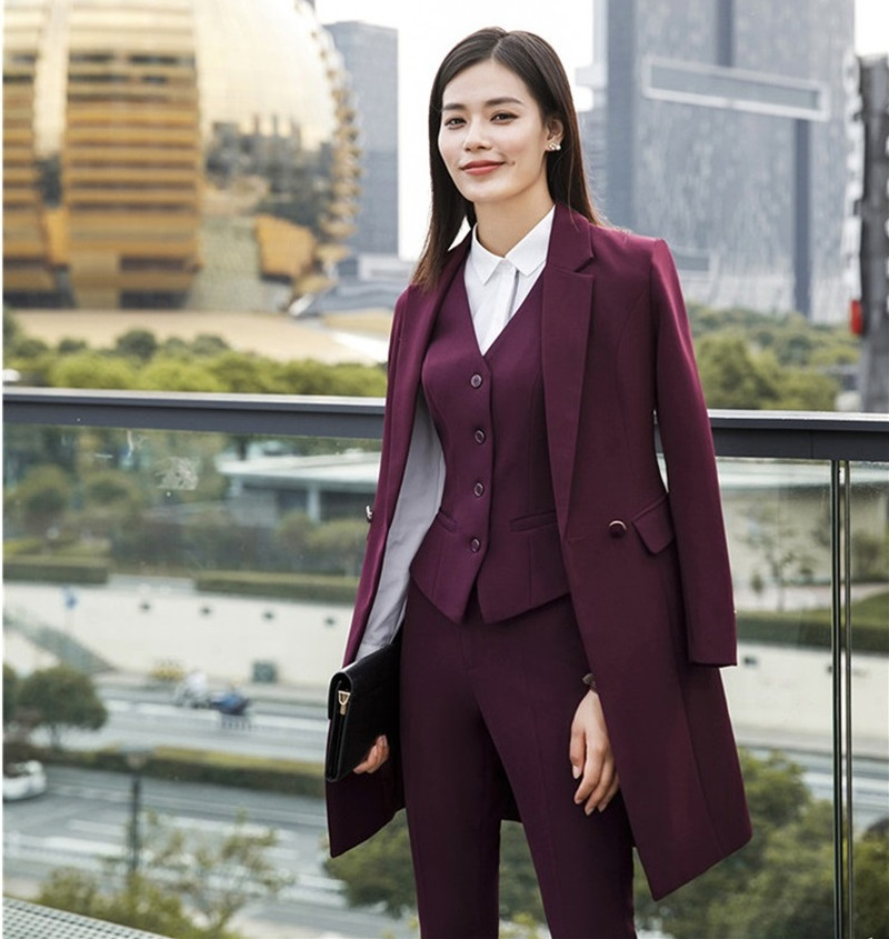 Fashion Styles 2019 Spring Fall Women Blazers Suits Uniform Designs Business Suits With Long Windbreaker For Ladies Office