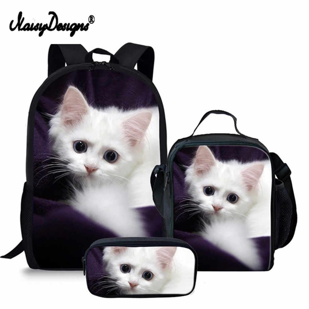 78b15daabb43 Рюкзак детский 3 компл. очаровательны котенок кошка школьная сумка для  девочек ортопедические ранец школьный в