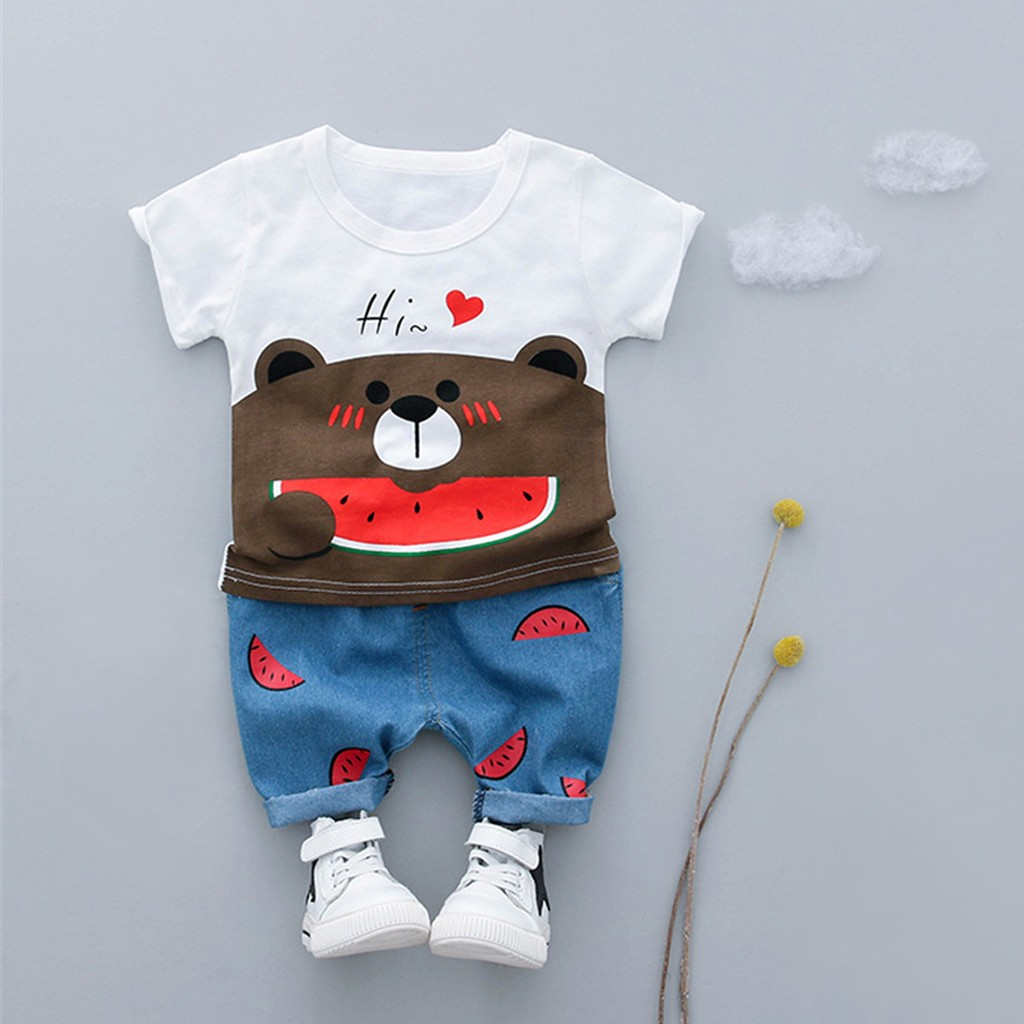2pcs Children Summer Boys Clothes Toddler Kid Baby Boys Girls Bear eat watermelon T-shirt Tee Tops Shorts Trousers Outfits Set(China)