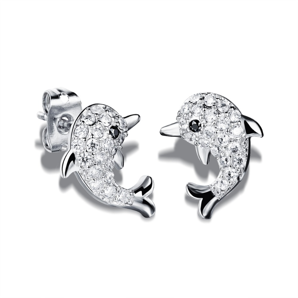 New Fashion Crystal Earrings For Woman Jewelry Cute Animal Dolphin Shape White / Yellow Gold Plated Stud Earring Female HD643