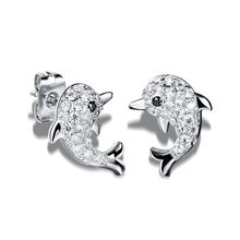 c0d310de0 Fate Love Stainless Steel Studs Earrings Gold Color Silver Dazzle Tiny  Beads Woman Jewelry Cute Animal Dolphin Shape Gifts FL643