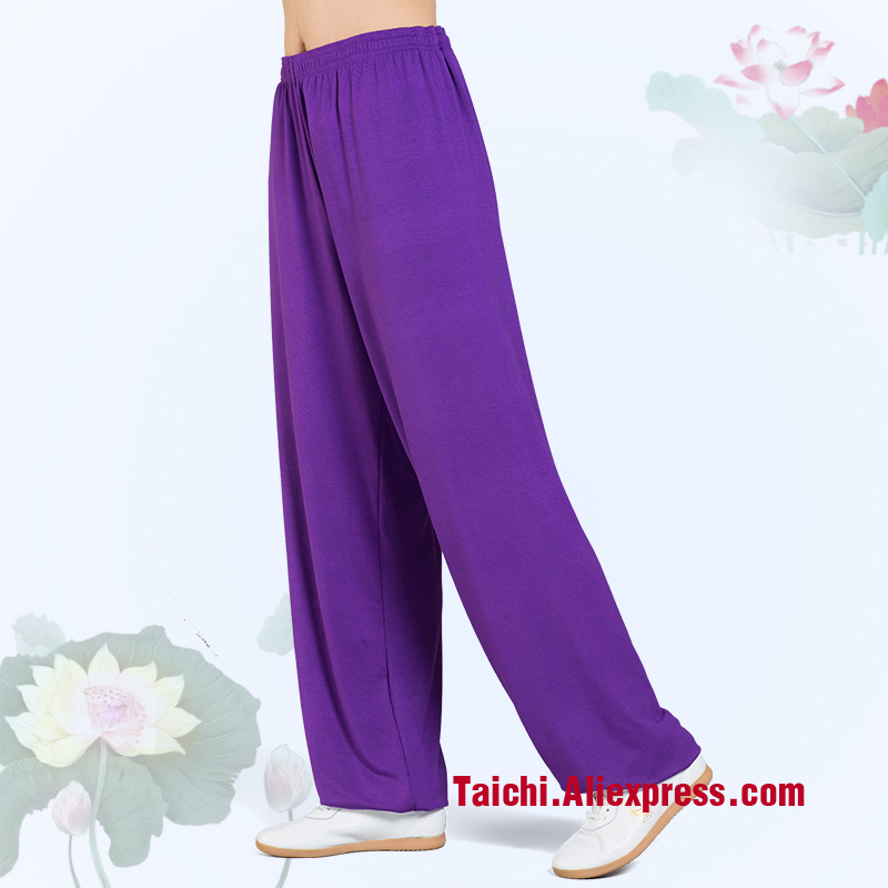 Modal Tai Chi Pants Woman And Man Wu Shu Pants Spring And Summer Martial Art Yoga Pants Pink Blue Rose Black Orange Voilet
