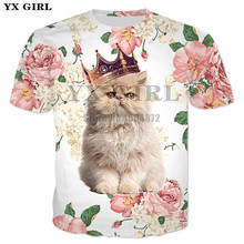 2018 Summer New Harajuku Tees Women/Men Rose Cat Prince Meow 3d Print T-shirt Cute Crown Printing T shirt Unisex Tee Shirts