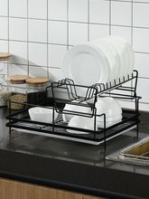Lechef's Double-deck Dish Rack 304 Stainless Steel Drainage Rack Kitchen Dish Chopstick Rack Receives Shelf Supplies double lock hanging rack ldr2001w g r kitchen shelf products containing dishes left to put dish rack
