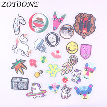 ZOTOONE Unicorn Camera Pineapple Patches Iron on for Clothing Animal Embroidery Sticker Badge DIY Apparel Accessories C